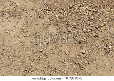 Dirt And Dusty Road With Small Stones Background