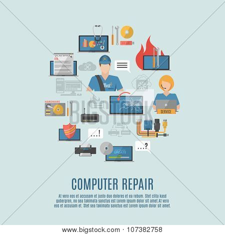Computer repair flat icons composition poster