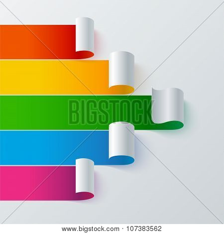 Curled colorful paper stripe banners arrow on white background