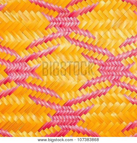 Close up woven bamboo pattern handbags and basketry passing on the community indentity poster
