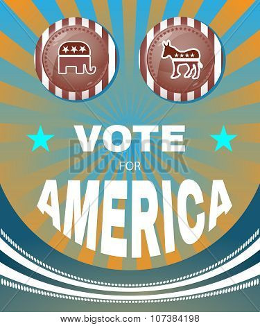 Elephant Versus Donkey American Election Banner