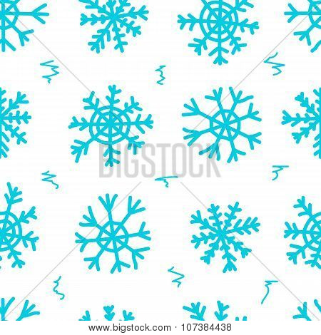 Seamless snowflakes and curls white
