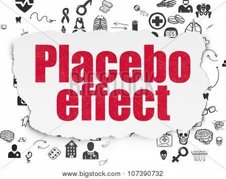 Health concept: Placebo Effect on Torn Paper background