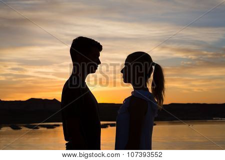 Pending Kiss At Sunset