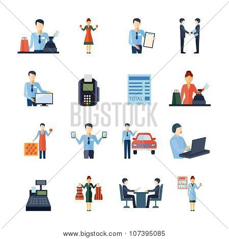 Different Salesmen Icons Set