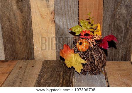 Autumn decor on pallet wood