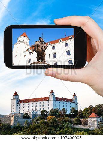 Snapshot Of Statue In Bratislava Hrad Castle