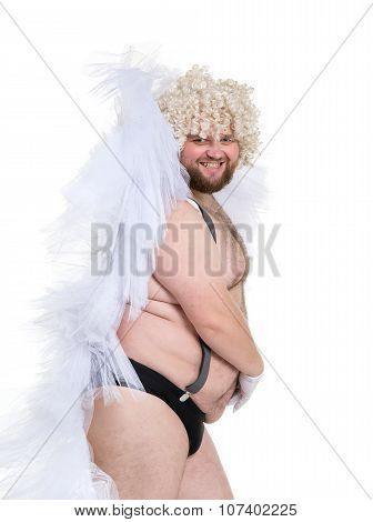 Funny Crazy Naked Fat Man in Panties with Angel Wings on white background poster