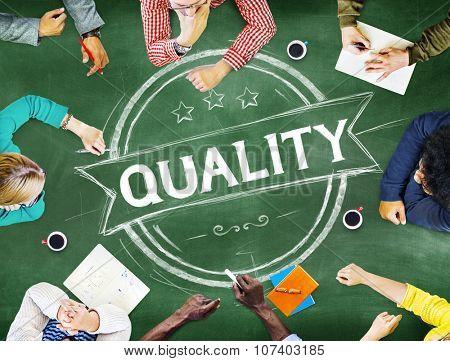 Quality Satisfaction Grade Guarantee Rank Concept poster