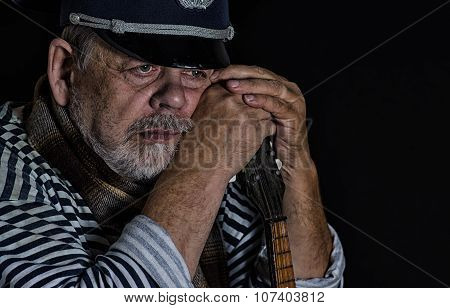 Portrair retired military man thinking about hard life