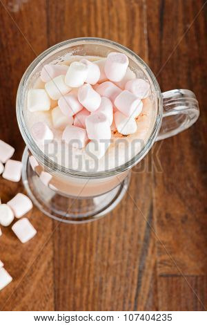 Areal view to the hot chocolate with marshmallows