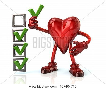 Cartoon Heart Character And Checklist Boxes