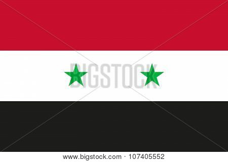 National Flag Of Syrian Arab Republic (syria) In Official Colors And Proportions