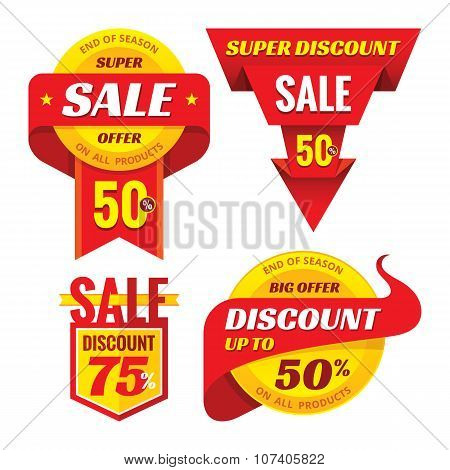 Sale - creative vector badges set. Special discount vector badges collection. Super offer badges.