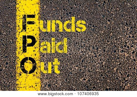 Concept image of Business Acronym FPO as Funds Paid Out written over road marking yellow paint line. poster