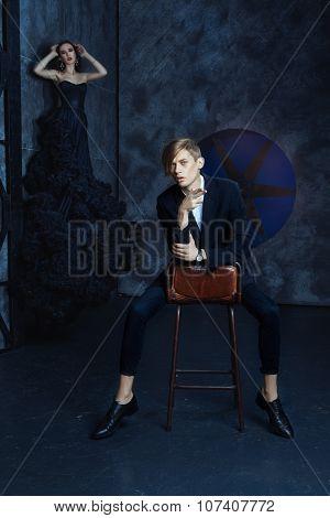 Fashionable Stylish Man Sitting On A Chair.