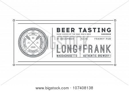 Vintage colourless invitation card template. Logo of brewery.