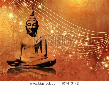 Buddha background grunge with stars