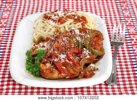 Chicken Cacciatore With Pasta