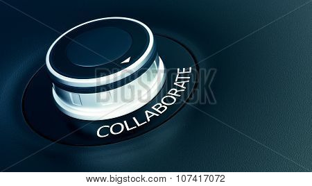 knob with arrow pointing to the word: collaborate (3d render) poster