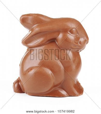Chocolate Easter bunny, isolated on white