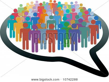 Crowd Social Media People Speech Bubble Network