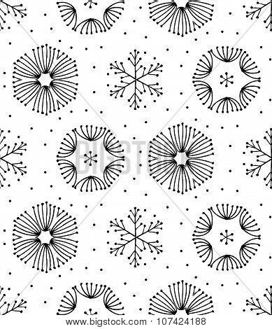 Seamless black and white hand-drawn seamless ornament