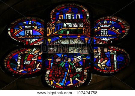 Stained Glass Of The Arc Of The Covenant In Cathedral Of Leon, Spain