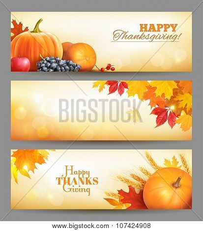 Thanksgiving Day banners. Vector illustration.