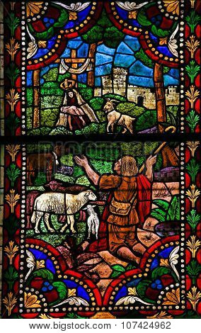 Stained Glass Of Mother Mary And A Shepherd In Cathedral Of Leon, Spain