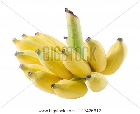 Ripe Yellow Banana Fruits On White Background