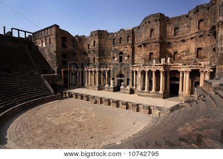 The ancient Roman theatre in Bosra, Syria, Middle East poster