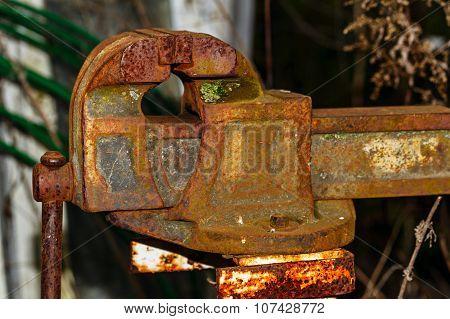 Old Rusty Blacksmith Vise.