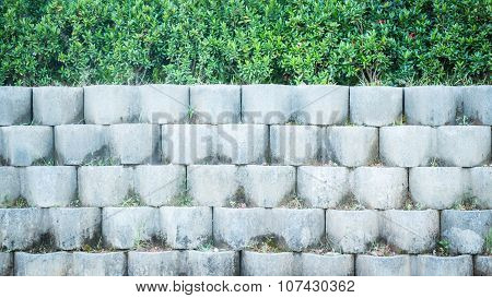 Grey Brick Block Wall In The Garden