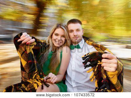 Young couple autumn portrait
