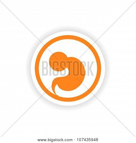 paper sticker on white background embryo in the womb