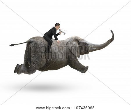 Businessman With Using Speaker Riding On Elephant