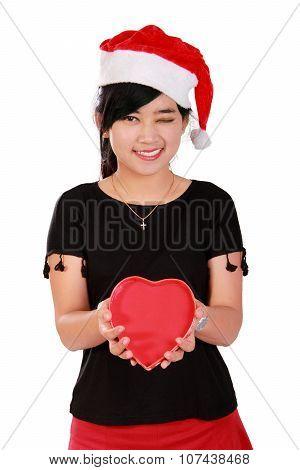 Happy Xmas Girl Holding Heart Shaped Box