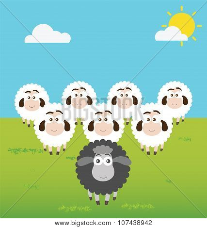 A Black Sheep with Leadership Situation Metaphor poster