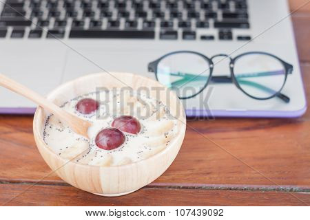 Granola With Fruits On Work Station