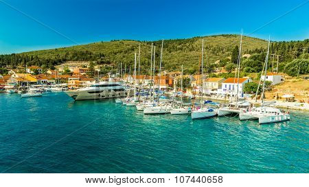 Port Fiskardo On Kefalonia Island, Greece.