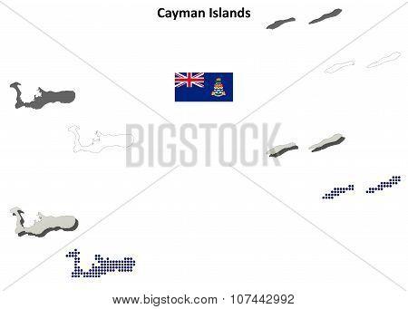 Cayman Islands outline map set