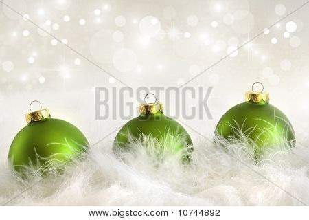 Green Christmas Balls With Holiday Background