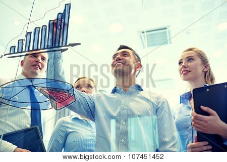 business, people, teamwork and planning concept - smiling business team drawing chart on notice board in office