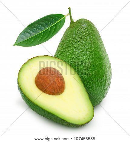 Fresh green ripe avocado and slice