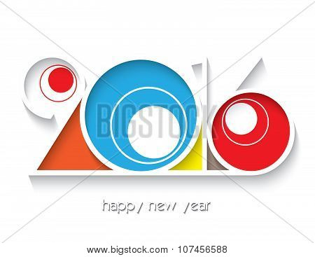 2016 Happy New Year For Your Greetings Card Isolated  On White Background