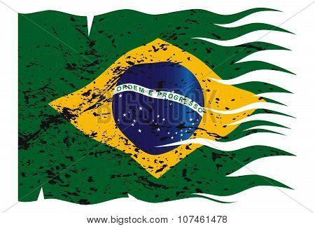 Wavy Brazil Flag Grunged