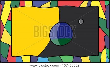 Planet Earth Flag On Stained Glass Window