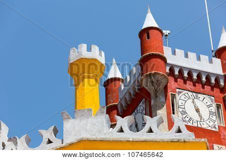 Beautiful castle with towers against the clear sky