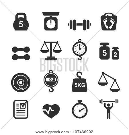 Weight icon set - scales, weighing and  balance